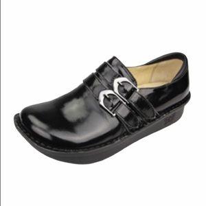 Alegria Alli Black Waxy Oxford slipon shoe size 41